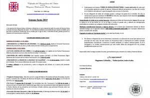 CARTA A LOS COFRADES 2019 -  CALENDARIO ACTOS Y PROCESIONES