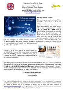 CARTA A LOS COFRADES - NAVIDAD 2019